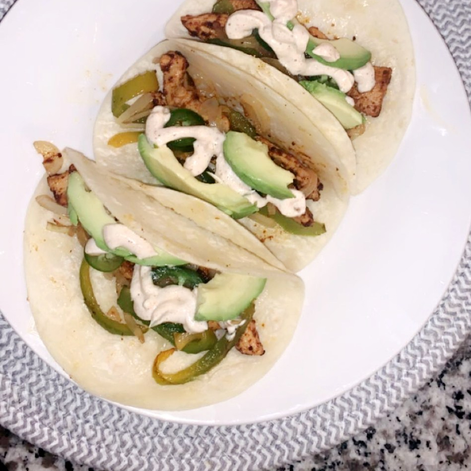 Chicken Fajitas with Roasted Green Peppers and Onions, Avocado, and Sour Cream